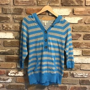AEROPOSTALE Gray Turquoise Striped Hoodie Sweater